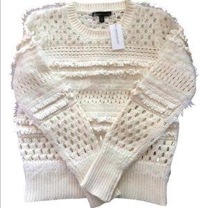 Banana Republic boho fringe white cotton sweater